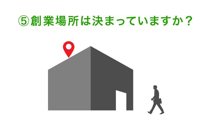 ⑤創業場所は決まっていますか?